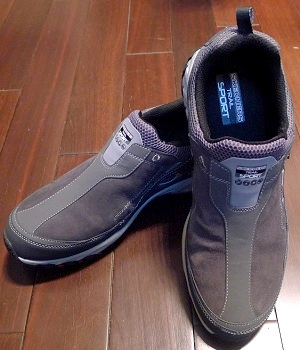 Skechers Gray Leather Slip-On Shoes