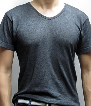 Men's Uniqlo Black Marled V-Neck T-Shirt
