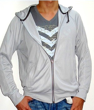 Men's Uniqlo Light Gray Lightweight Zip Hooded Jacket