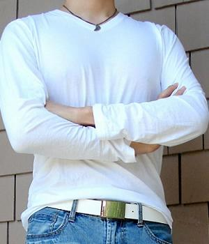 Men's White Long Sleeve V-Neck T-Shirt