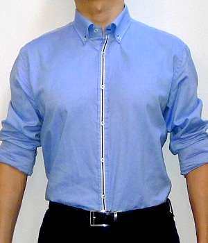 Men's Zara Blue Long Sleeve Button Down Dress Shirt
