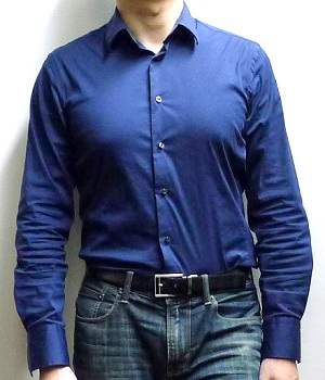 Men's Zara Dark Blue Button Down Dress Shirt