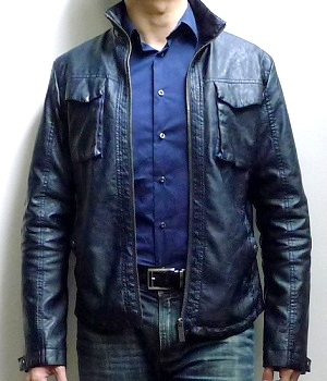 Men's Zara Dark Blue Leather Mock Neck Zip Jacket