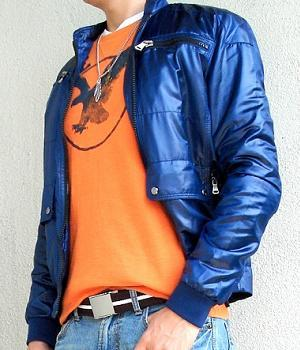 Dark Blue Jacket with Orange Graphic T-shirt