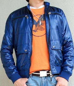 Blue jacket and orange t-shirt