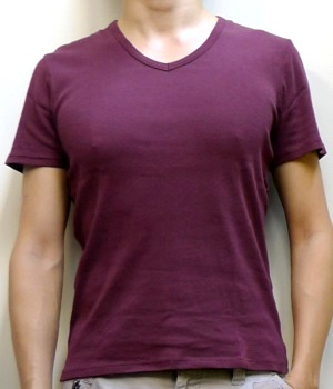 Men's Zara Maroon V-neck Short Sleeve T-Shirt
