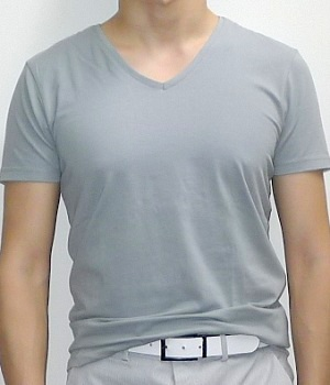 Zara Gray V-neck Short Sleeve T-shirt
