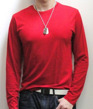 Red Long Sleeve T-shirt with Dark Blue Jeans