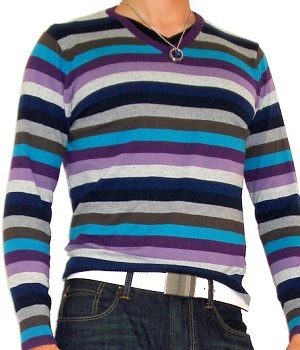 Men's Zara Blue Purple Gray Striped V-Neck Sweater