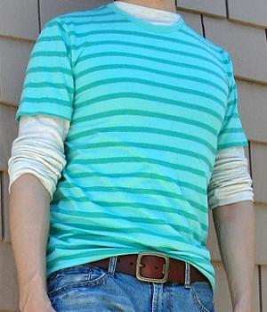 Green Short Sleeve Crew Neck Striped T-Shirt