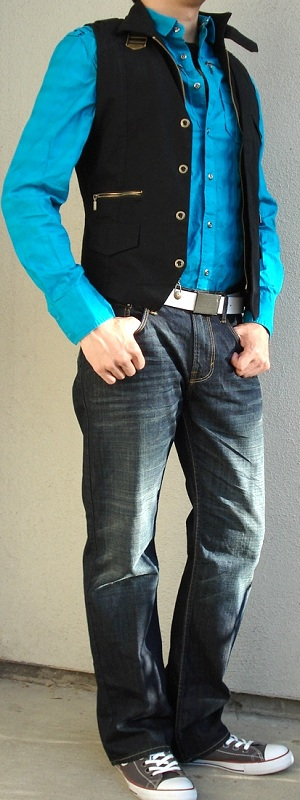 Men's Aqua Blue Shirt Black Vest Gray Shoes