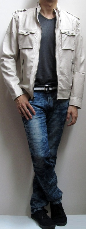 Men's Beige Leather Jacket Black T-Shirt Blue Snow Jeans Black Sneakers