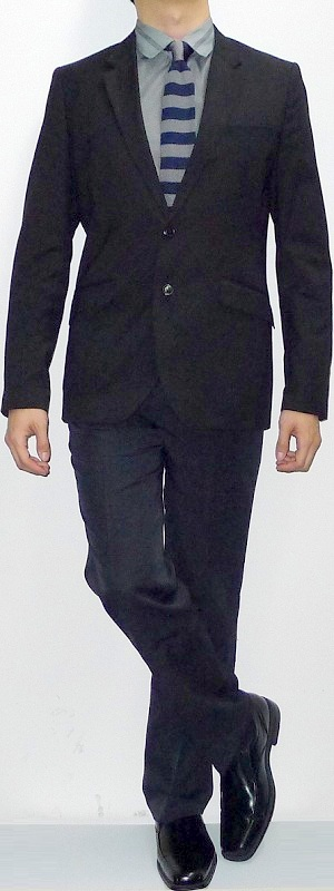 Men's Black Blazer Dark Gray Shirt Blue Gray Striped Tie Black Suit Pants Black Shoes