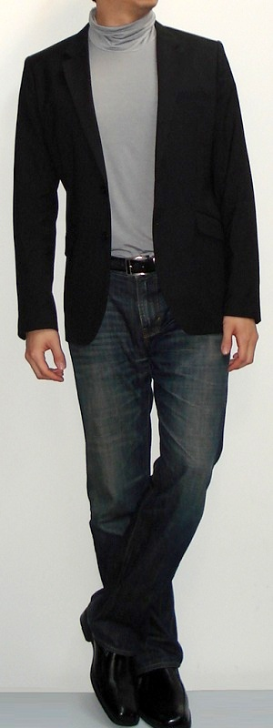 Black Blazer Grey Mock Neck T-shirt Dark Blue Jeans Black Loafers Black Belt