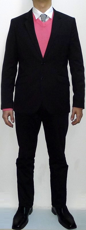 Men's Black Blazer Pink V-neck Sweater Silver Tie White Shirt Black Pants Black Leather Shoes