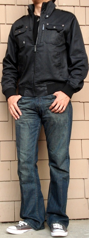 Men's Black Jacket Dark Blue Jeans Gray Shoes