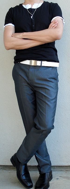 Black Button T-Shirt Black Dress Shoes White Leather Belt Gray Silk Suit Pants