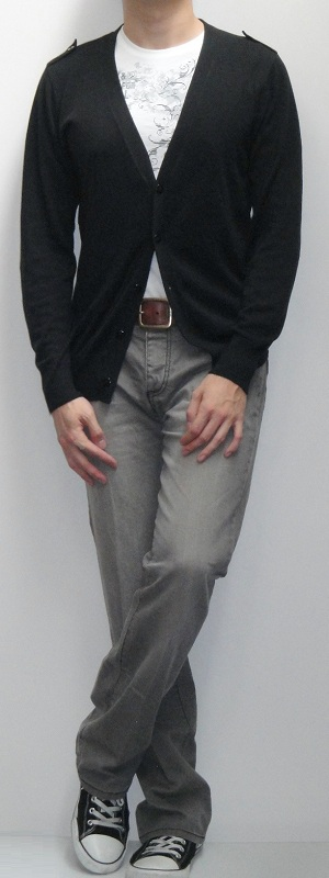 Men's Black Cardigan Sweater White Graphic Tee Brown Leather Belt Gray Bootcut Jeans Black Canvas Shoes