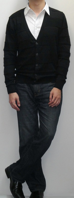Black Cardigan Sweater White Shirt Dark Blue Bootcut Jeans Black Leather Dress Shoes