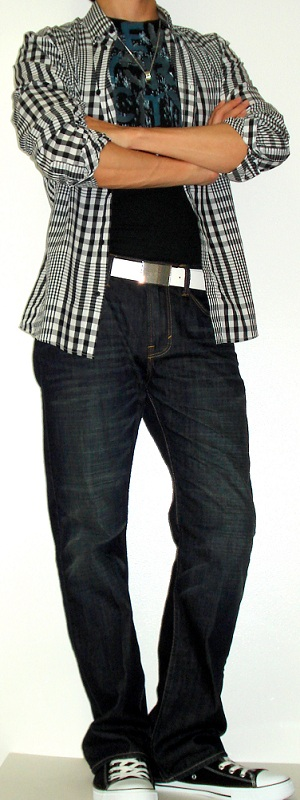 Black Checkered Shirt Black Graphic Tee White Leather Belt Black Sneakers