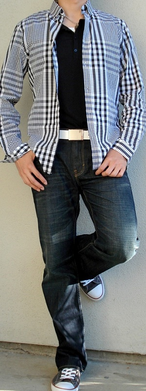 Men's Black Checkered Shirt White Leather Belt Dark Blue Jeans Gray Shoes