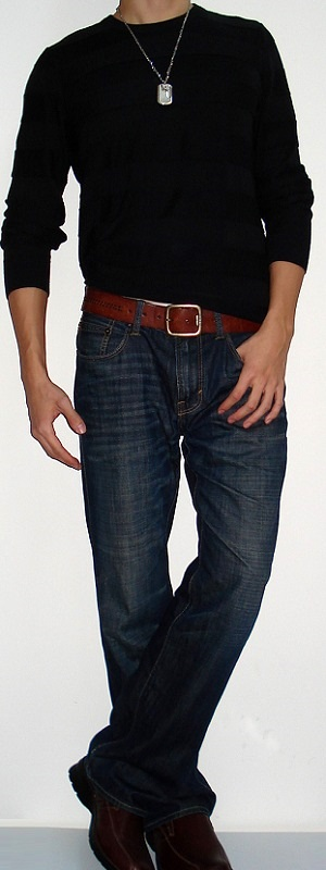 Men's Black Crew Neck Sweater Brown Belt Dark Blue Jeans Brown Shoes