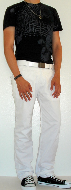 Men's Black Graphic Tee Black Converse Shoe White Leather Belt White Cotton Pants