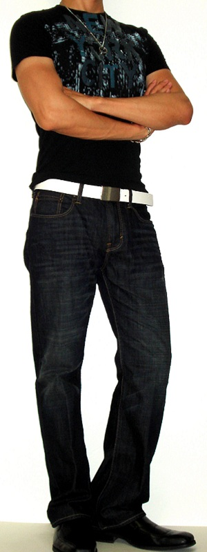 Men's Black Graphic Tee Black Leather Shoes White Leather Belt Dark Blue Jeans