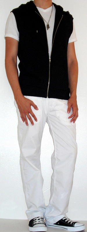 Men's Black Hooded Vest Black Shoes White V-Neck T-Shirt White Pants