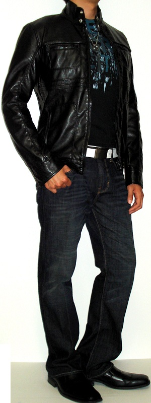 Men's Black Leather Jacket Black Graphic Tee Black Dress Shoes