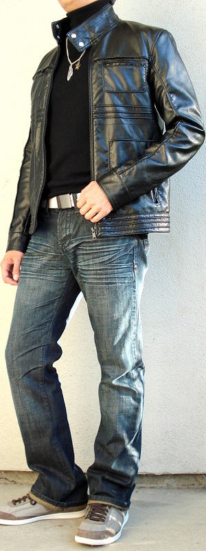 Men's Black Leather Jacket Black Turtleneck White Belt Gray Shoes