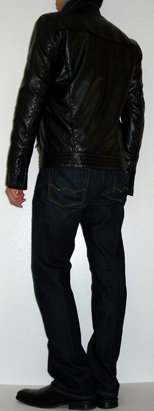 Men's Black Leather Jacket Gray Turtleneck Sweater Black Dress Shoes