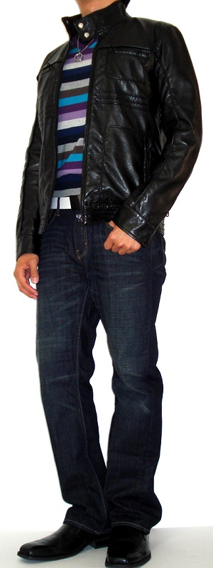 Men's Black Leather Jacket Purple Striped Sweater Dark Blue Jeans Black Leather Shoes