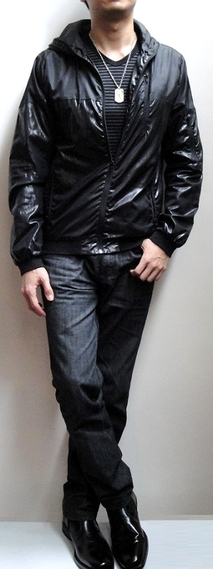 Black Nylon Hooded Jacket Black Striped V-neck T-shirt Black Jeans Black Leather Shoes