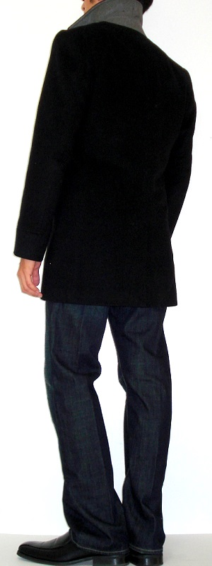Men's Black Pea Coat Black Dress Shoes Dark Blue Turtleneck Sweater
