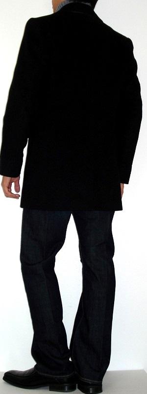 Men's Black Pea Coat Gray Turtleneck Sweater Black Dress Shoes