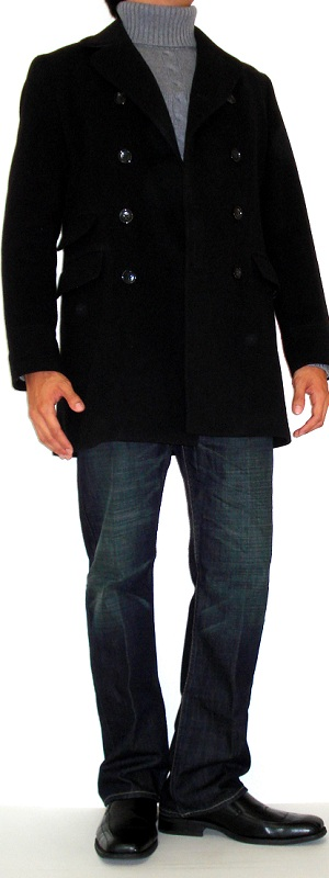 Men's Black Pea Coat Gray Turtleneck Sweater Black Dress Shoes