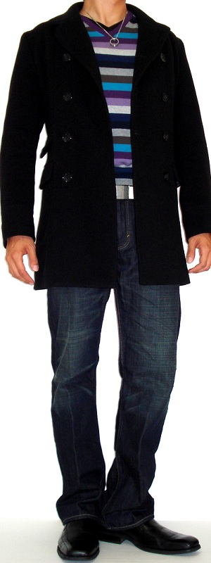 Men's Black Pea Coat Purple Striped Sweater Dark Blue Jeans Black Dress Shoes