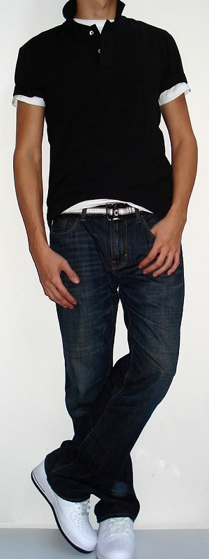 Men's Black Polo White T-shirt Black White Belt Dark Blue Jeans White Running Shoes