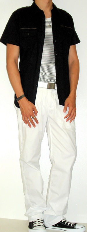 Men's Black Shirt Black Striped Tank Vest Black Sneakers White Belt White Pants