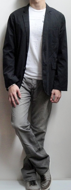 Black Shirt Blazer White Graphic T-shirt Gray Jeans Gray Sneakers Silver Bracelet