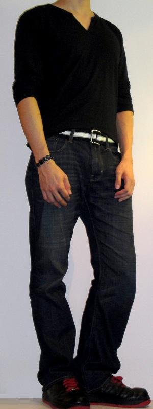 Men's Black Slit Neck T-Shirt Black Webbing Belt Dark Blue Jeans Black Sports Shoes