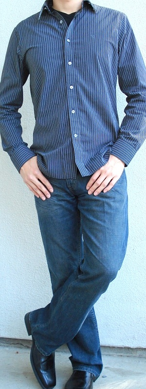 Men's Black Striped Shirt Black T-Shirt Black Dress Shoes Blue Jeans