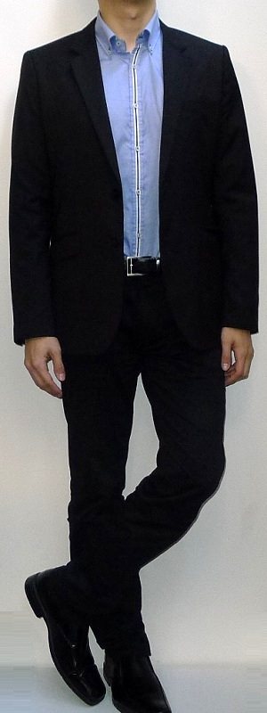 Men's Black Suit Blazer Blue Shirt With White Placket Black Belt Black Dress Pants Black Leather Loafers
