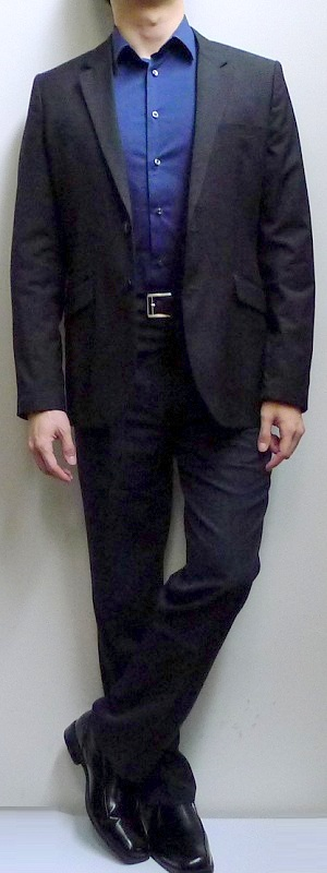 Black Suit Dark Blue Dress Shirt Black Dress Shoes Black Leather Belt