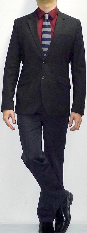 Men's Black Blazer Dark Red Shirt Blue Gray Tie Black Pants Black Shoes