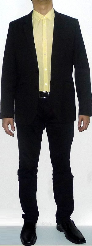 Men's Black Suit Jacket Yellow Dress Shirt Black Belt Black Suit Pants Black Leather Shoes