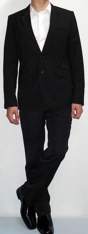 Men's Black Blazer Black Pants White Shirt Black Belt Black Shoes