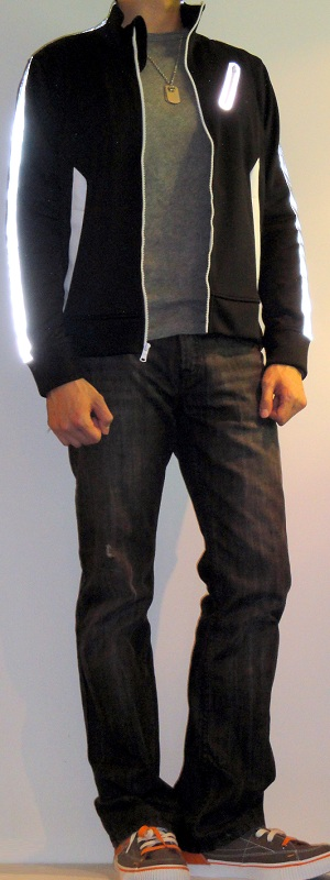 Men's Black Athletic Jacket Gray Tshirt Black Jeans Brown Sneakers