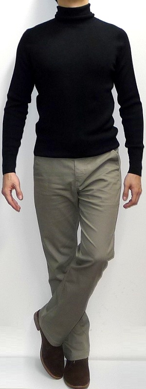 Men's Black Turtleneck Sweater Khaki Pants Suede Ankle Boots